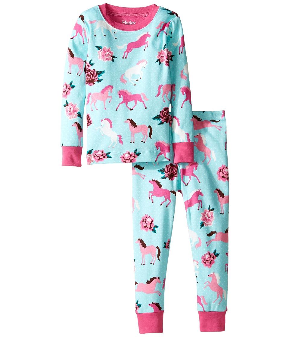 Hatley Kids - Ponies Peonies Pajama Set (Toddler/Little Kids/Big Kids) (Blue) Girl's Pajama Sets