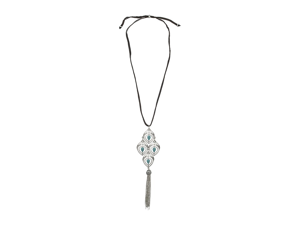 Lucky Brand - Feather Tassel Necklace (Silver) Necklace