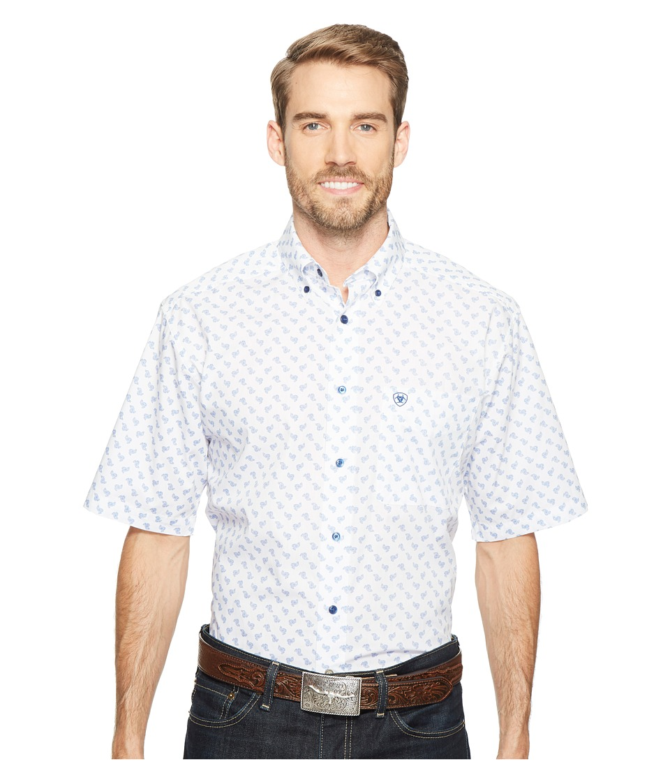 Ariat - Jenson Print Shirt (White) Men's Short Sleeve Button Up