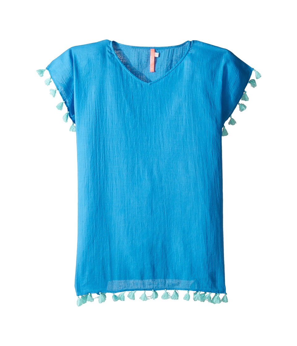 Seafolly Kids - Summer Essentials Kaftan Cover-Up (Little Kids/Big Kids) (Hawaii Blue) Girl's Swimwear