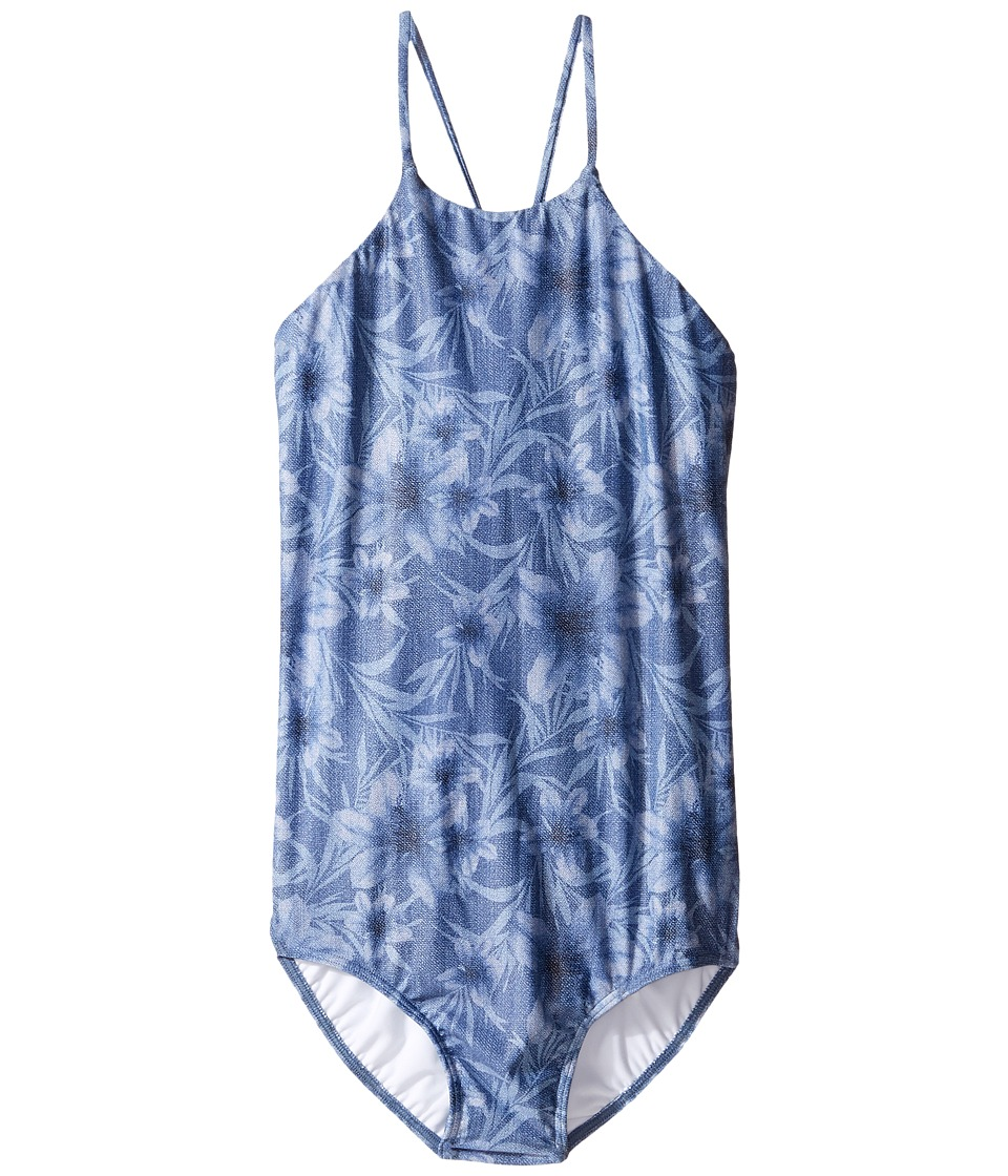 Seafolly Kids - Tropical Vacation High Neck One-Piece (Little Kids/Big Kids) (Denim Floral) Girl's Swimsuits One Piece