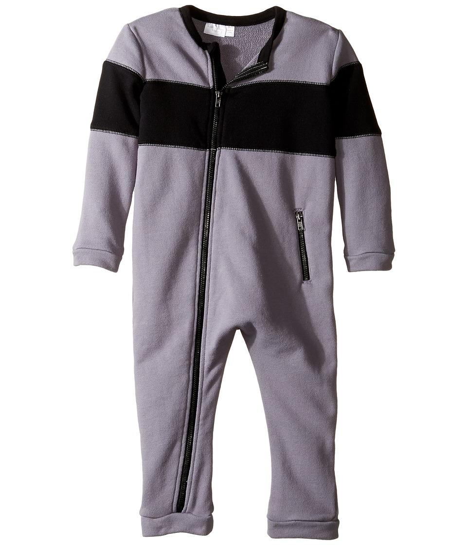 Kardashian Kids - Colorblocked French Terry One-Piece (Infant) (Grey/Black) Boy's Jumpsuit & Rompers One Piece
