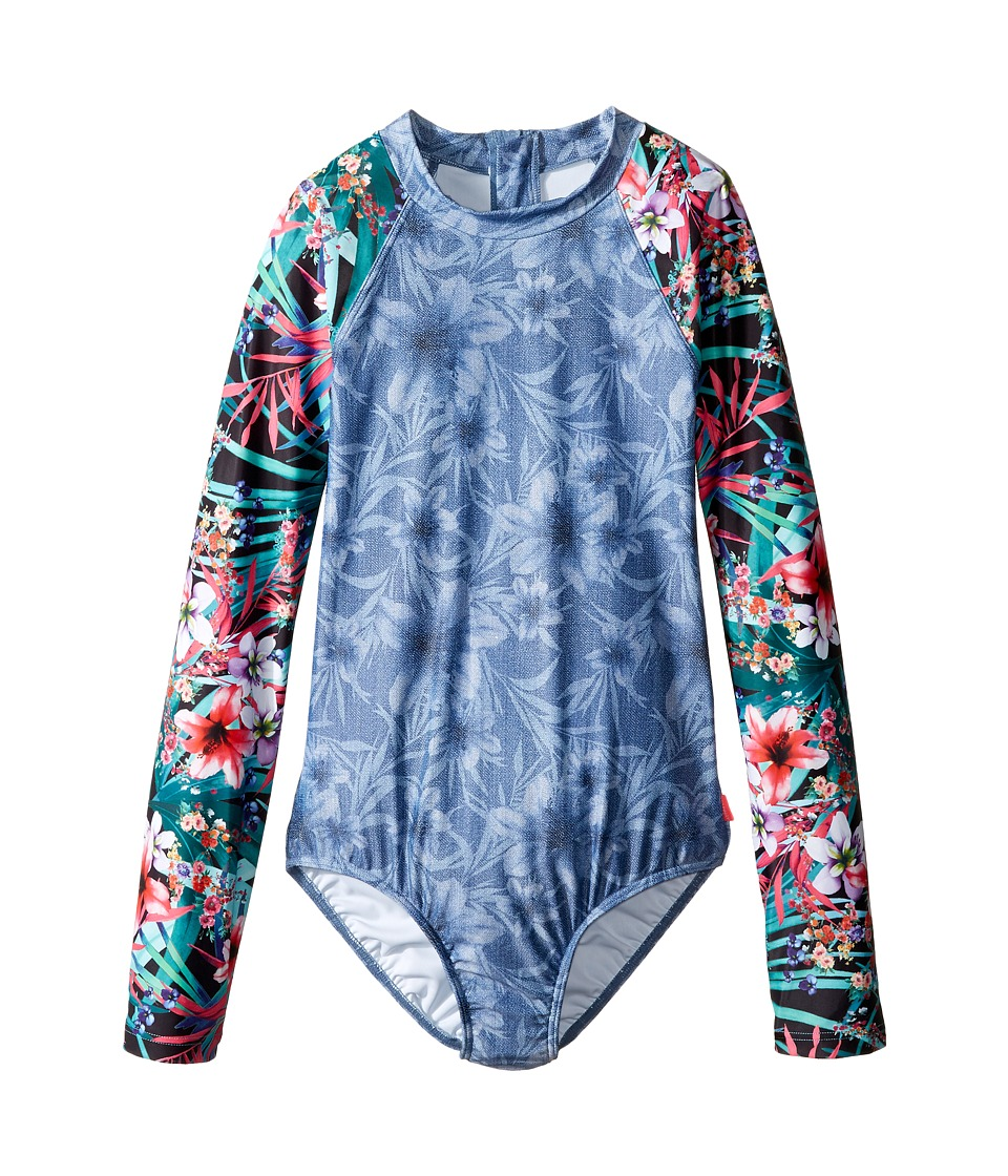 Seafolly Kids - Tropical Vacation Long Sleeve Surf Tank One-Piece (Little Kids/Big Kids) (Denim Floral) Girl's Swimsuits One Piece