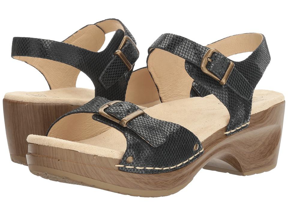 Sanita - Davia (Black Snake) Women's Sandals