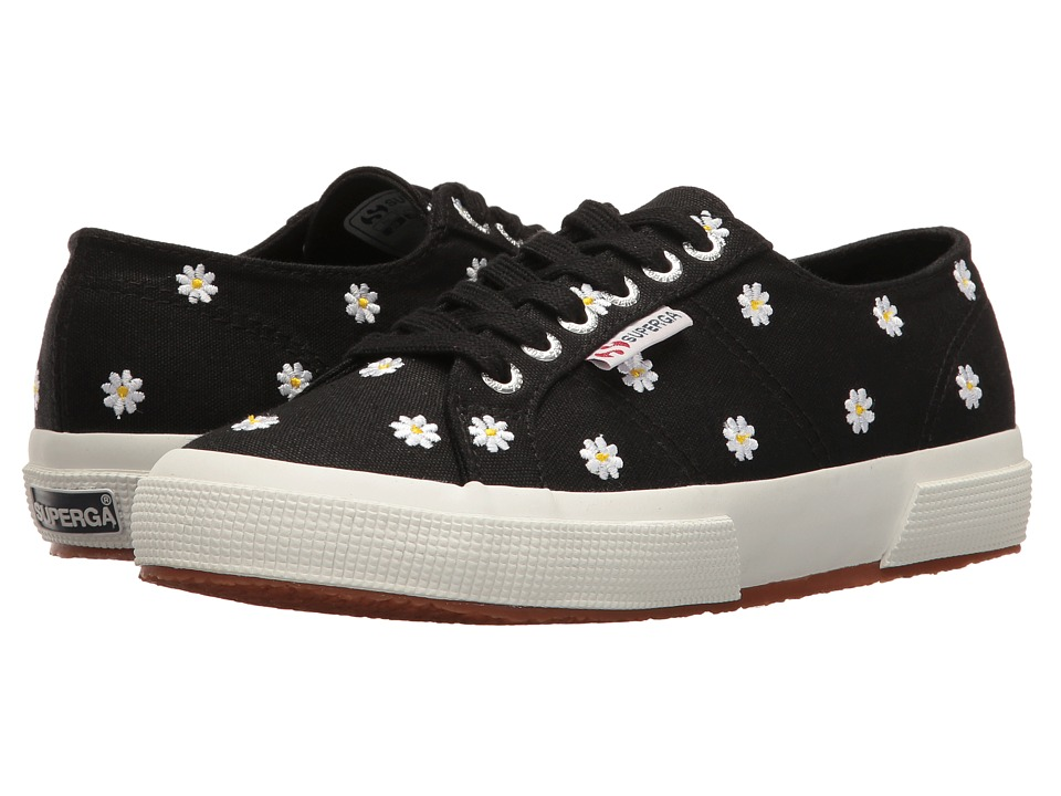 Superga - 2750 Embcotw (Black Daisies) Women's Lace up casual Shoes