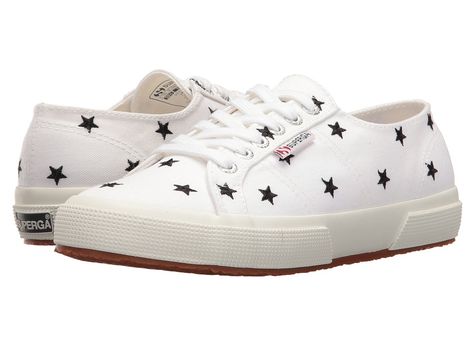 Superga - 2750 Embcotw (White/Black Stars) Women's Lace up casual Shoes