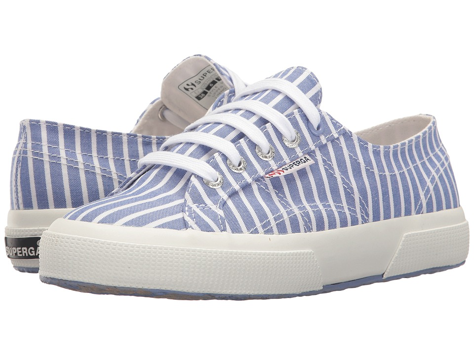 Superga - 2750 Fabricshirt M (Stripes Light Blue/White) Men's Shoes