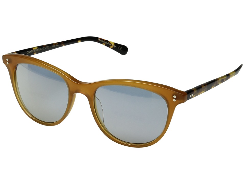 Oliver Peoples - Jardinette Sun Limited (Amber/Vintage DTB/Blue Goldtone) Fashion Sunglasses