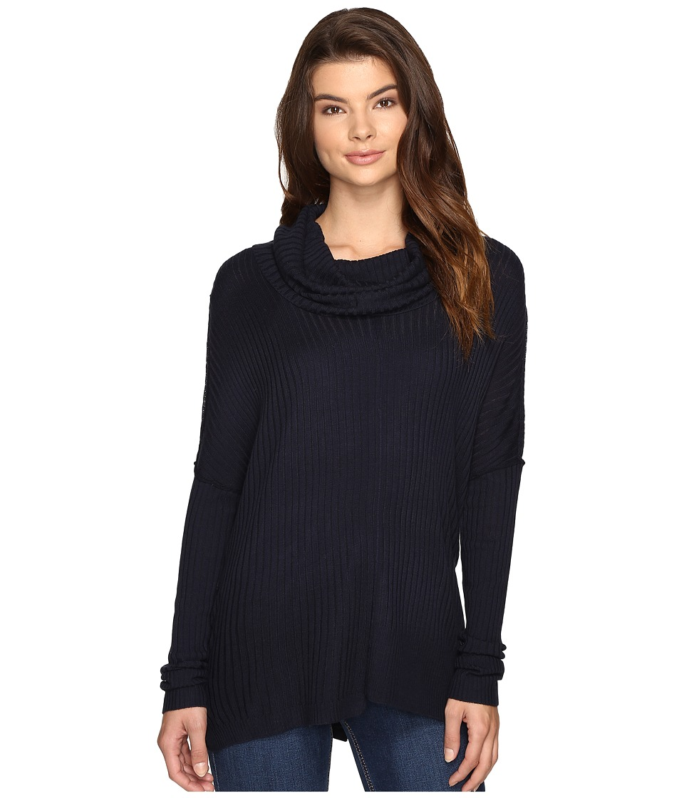 Brigitte Bailey - Algelie Cowl Neck Ribbed Sweater (Indigo) Women's Sweater