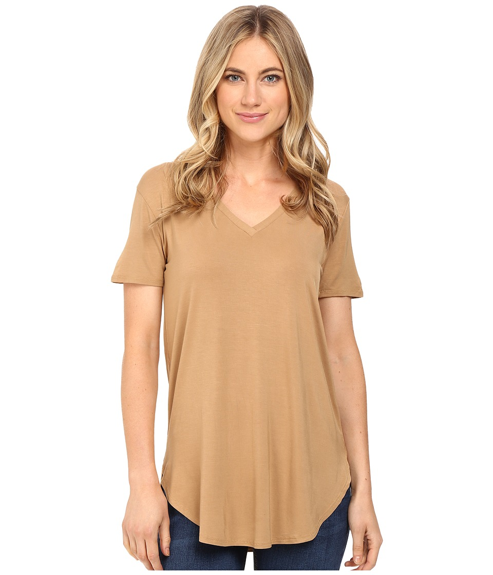 Culture Phit - Preslie Cap Sleeve Modal V-Neck Top (Mustard) Women's Clothing