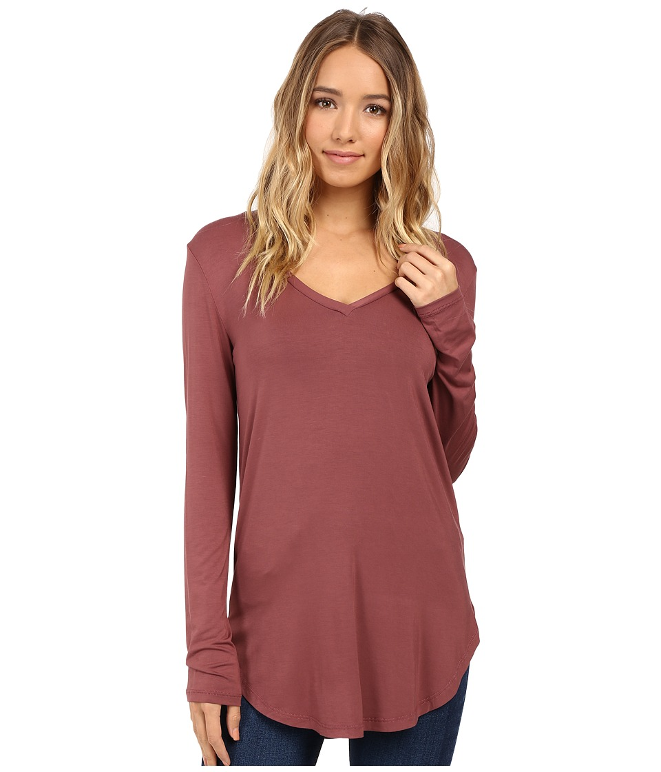 Culture Phit - Kierra V-Neck Top (Red Brown) Women's Clothing