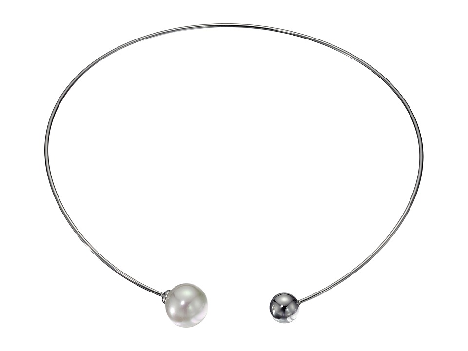 Majorica - 14mm Pearl Titanium Choker Necklace (White) Necklace