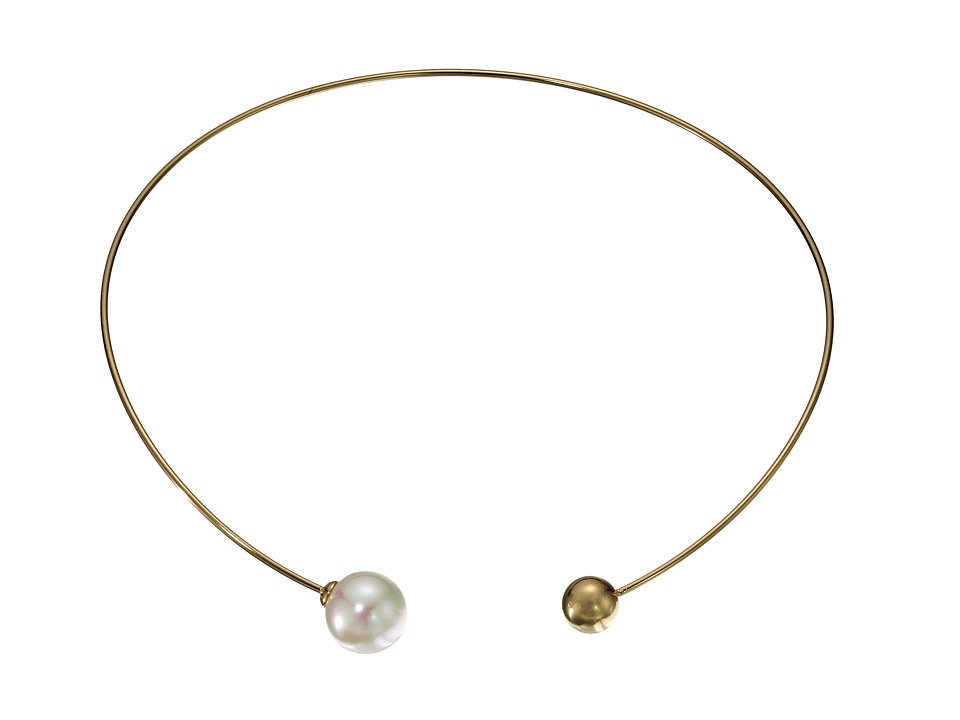 Majorica - 14mm Pearl Plated Titanium Choker Necklace (White) Necklace