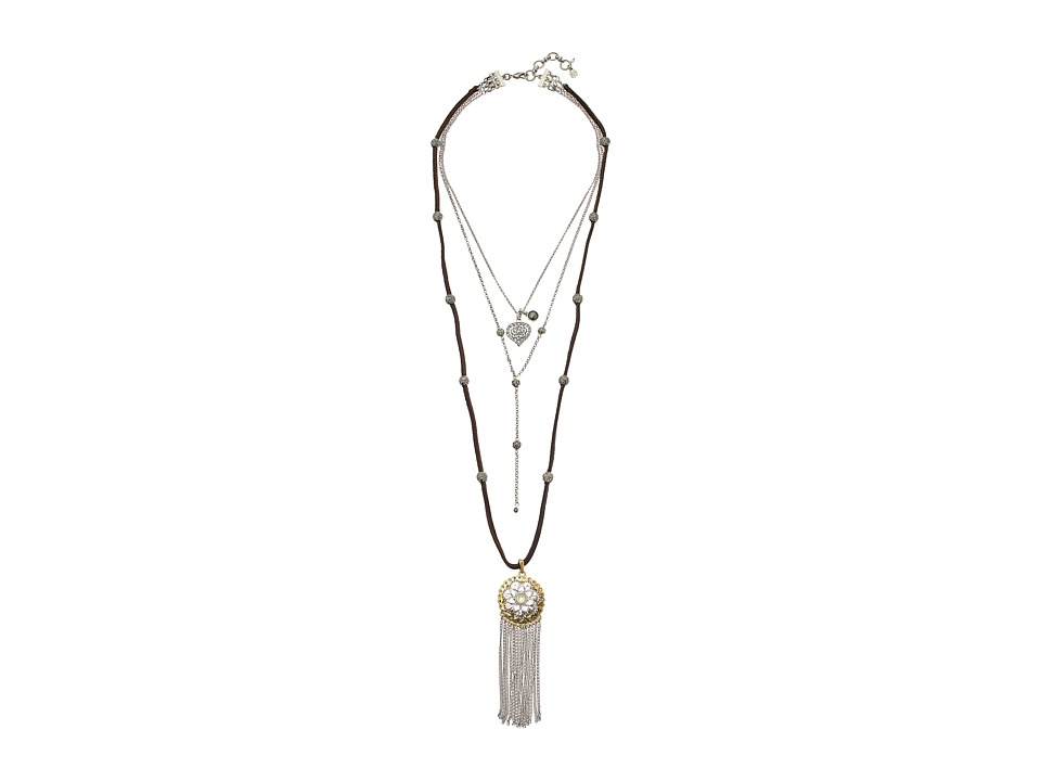 Lucky Brand - Floral Fringe Lucky Layer Necklace (Two-Tone) Necklace