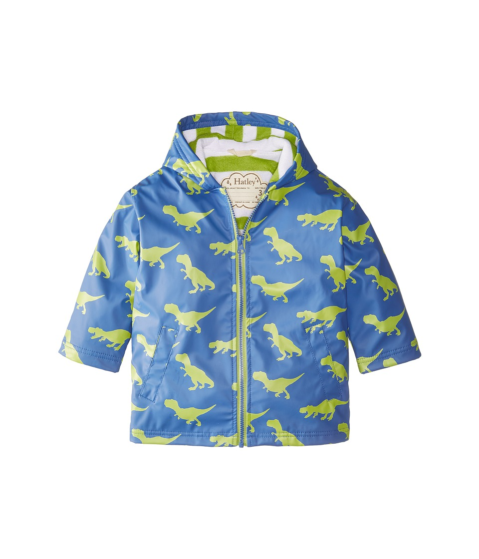 Hatley Kids - T-Rex Silhouette Splash Jacket (Toddler/Little Kids/Big Kids) (Blue) Boy's Coat