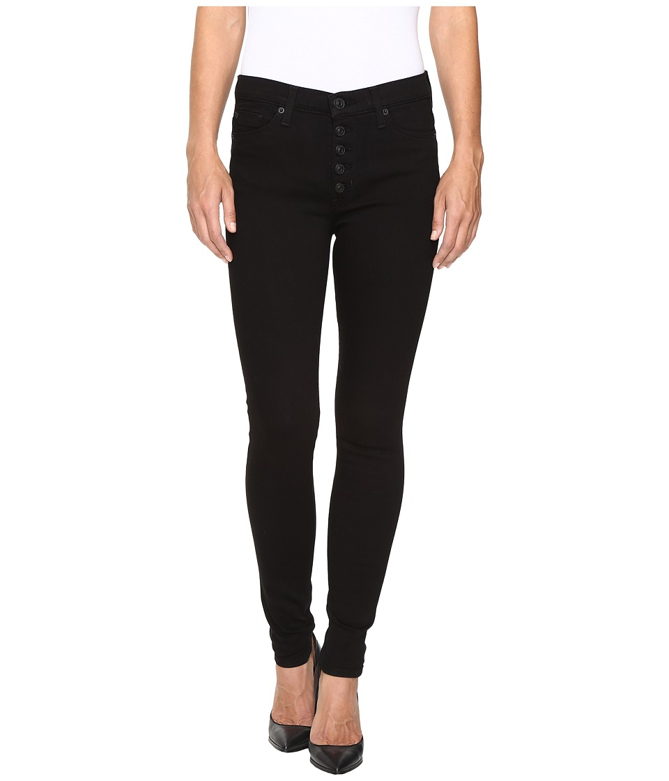 Hudson - Ciara High-Rise Exposed Buttons Super Skinny in Black (Black) Women's Jeans