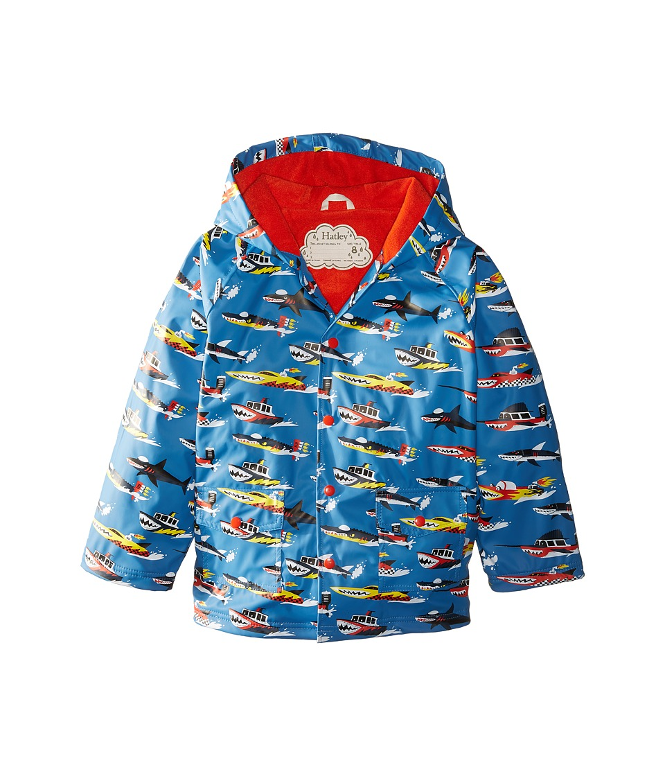 Hatley Kids - Monster Boats Raincoat (Toddler/Little Kids/Big Kids) (Blue) Boy's Coat