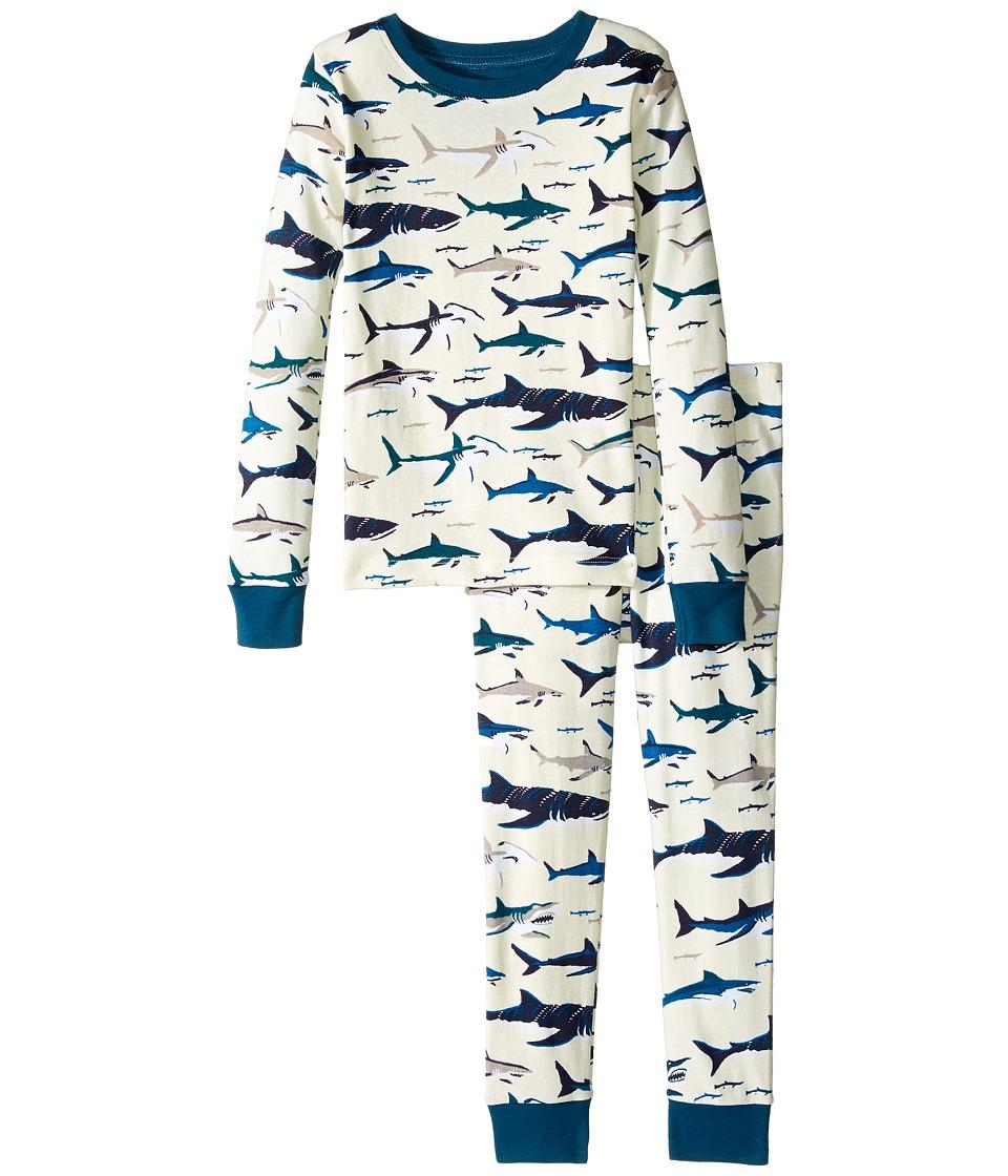 Hatley Kids - Toothy Sharks Pajama Set (Toddler/Little Kids/Big Kids) (White) Boy's Pajama Sets