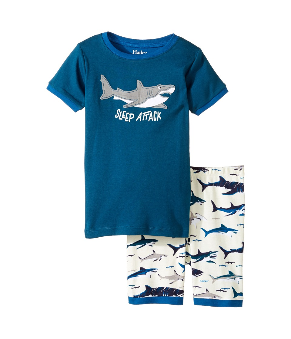 Hatley Kids - Toothy Sharks Short Pajama Set (Toddler/Little Kids/Big Kids) (Blue) Boy's Pajama Sets