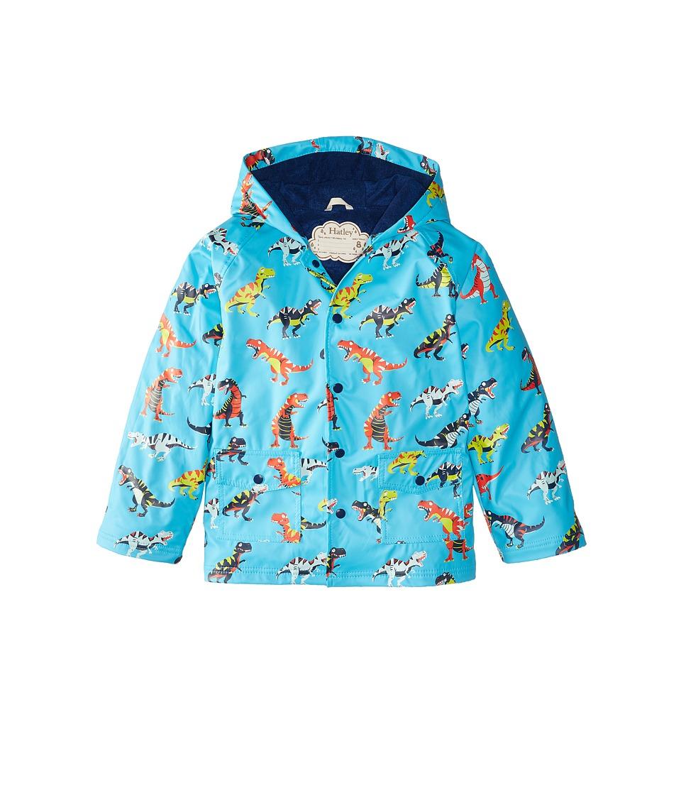 Hatley Kids - Roaring T-Rex Raincoat (Toddler/Little Kids/Big Kids) (Blue) Boy's Coat