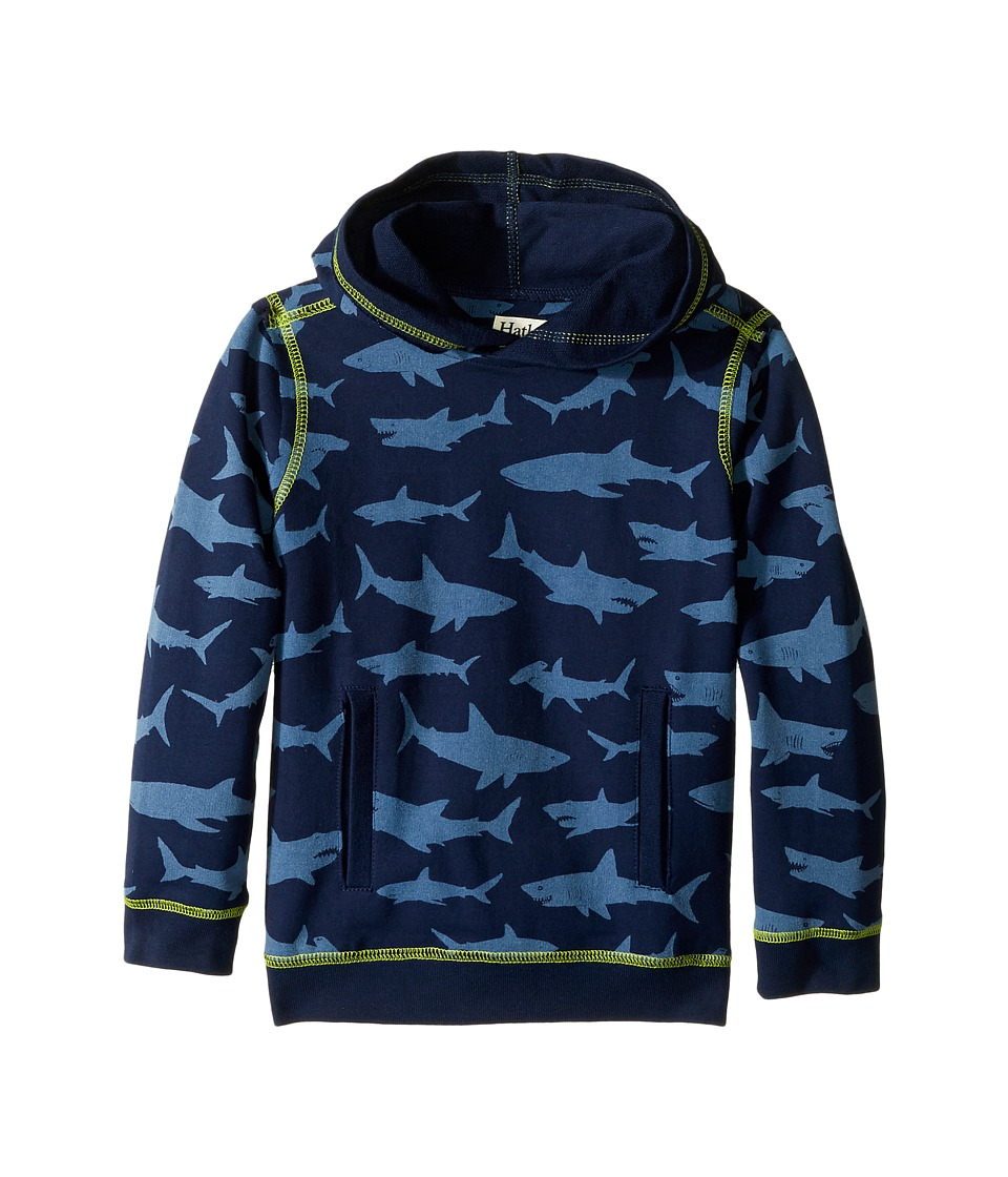 Hatley Kids - Patterned Shark Pullover Hoodie (Toddler/Little Kids/Big Kids) (Blue) Boy's Sweatshirt