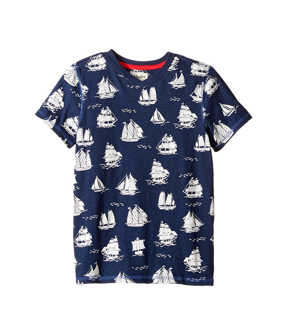 Hatley Kids - Patterned Sail Boats Graphic Tee (Toddler/Little Kids/Big Kids) (Blue) Boy's T Shirt