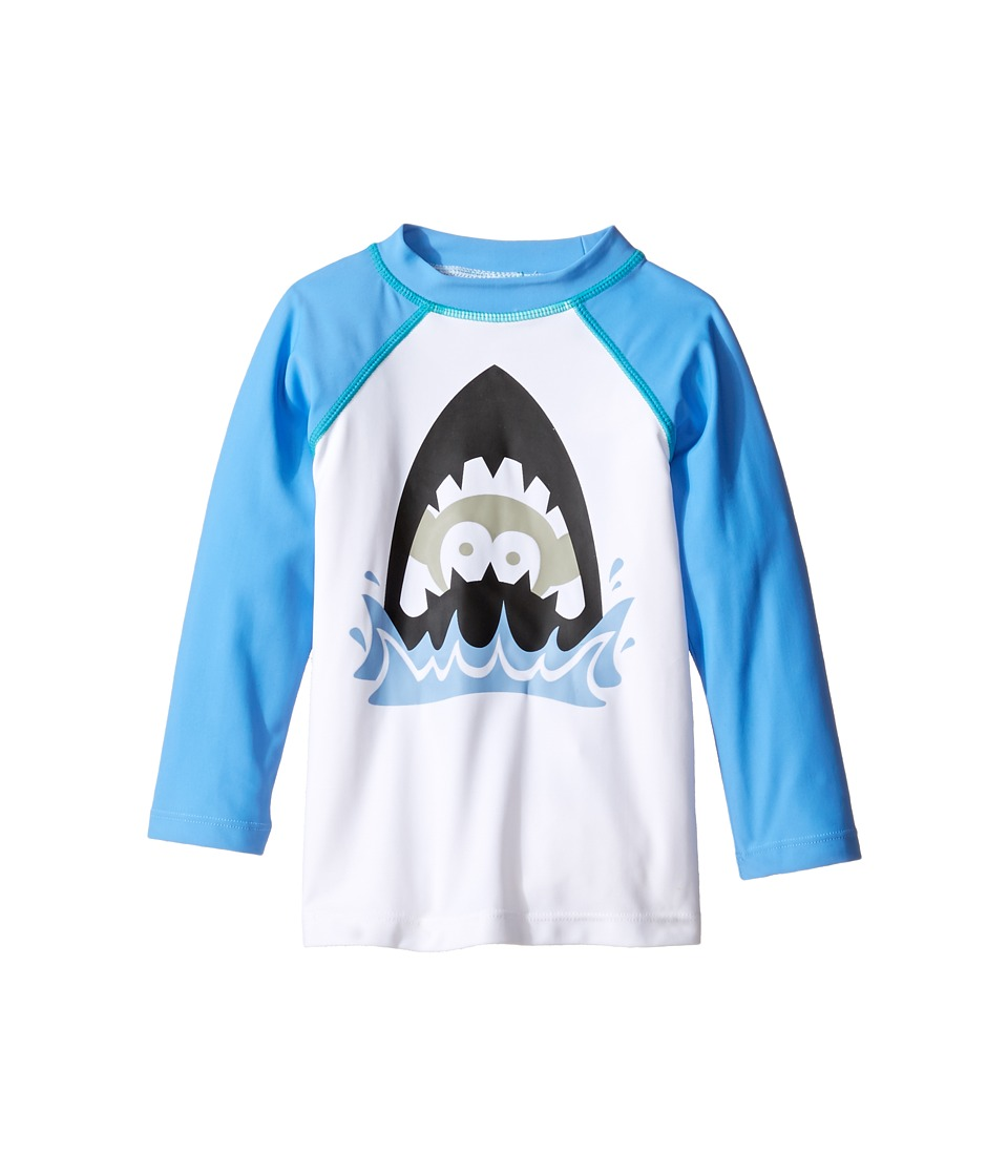 Appaman Kids - Long Sleeve Shark Attack Rashguard w/ SPF 50 Cover-Up (Toddler/Little Kids/Big Kids) (Light Blue) Boy's Swimwear