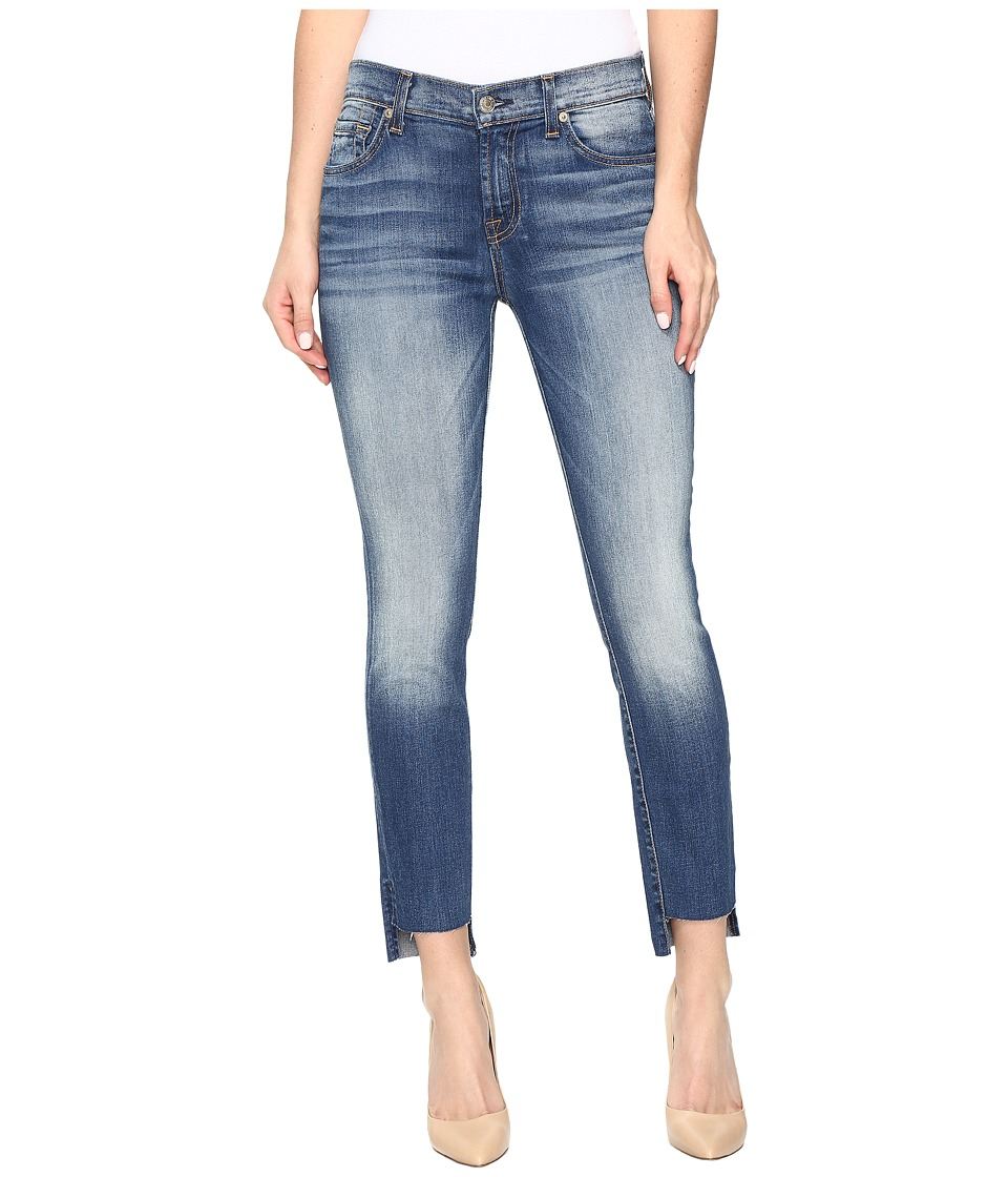 7 For All Mankind - Ankle Skinny w/ Step Hem in Distressed Authentic Light 3 (Distressed Authentic Light 3) Women's Jeans