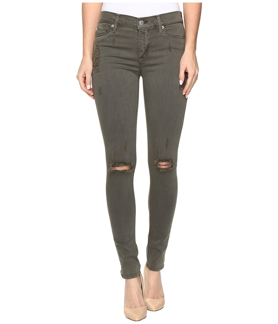 Hudson Nico Mid-Rise Super Skinny in Loden Green Destructed (Loden Green Destructed) Women