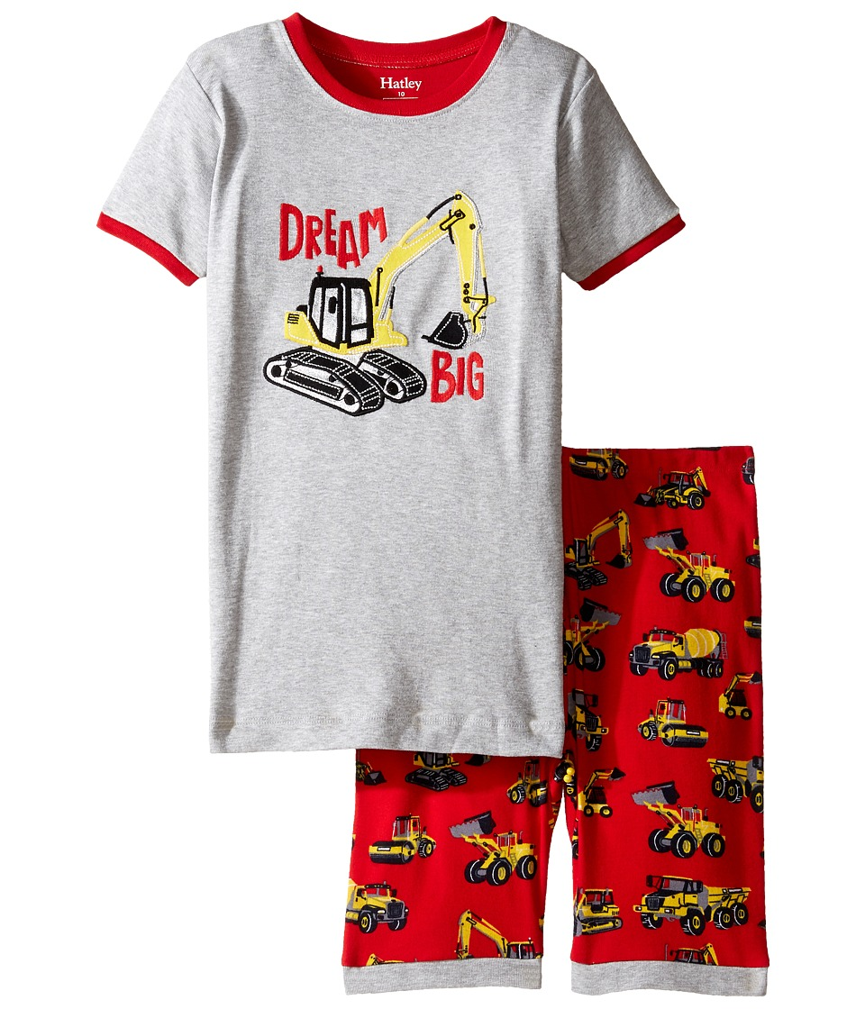Hatley Kids - Heavy Duty Machines Short Pajama Set (Toddler/Little Kids/Big Kids) (Grey) Boy's Pajama Sets