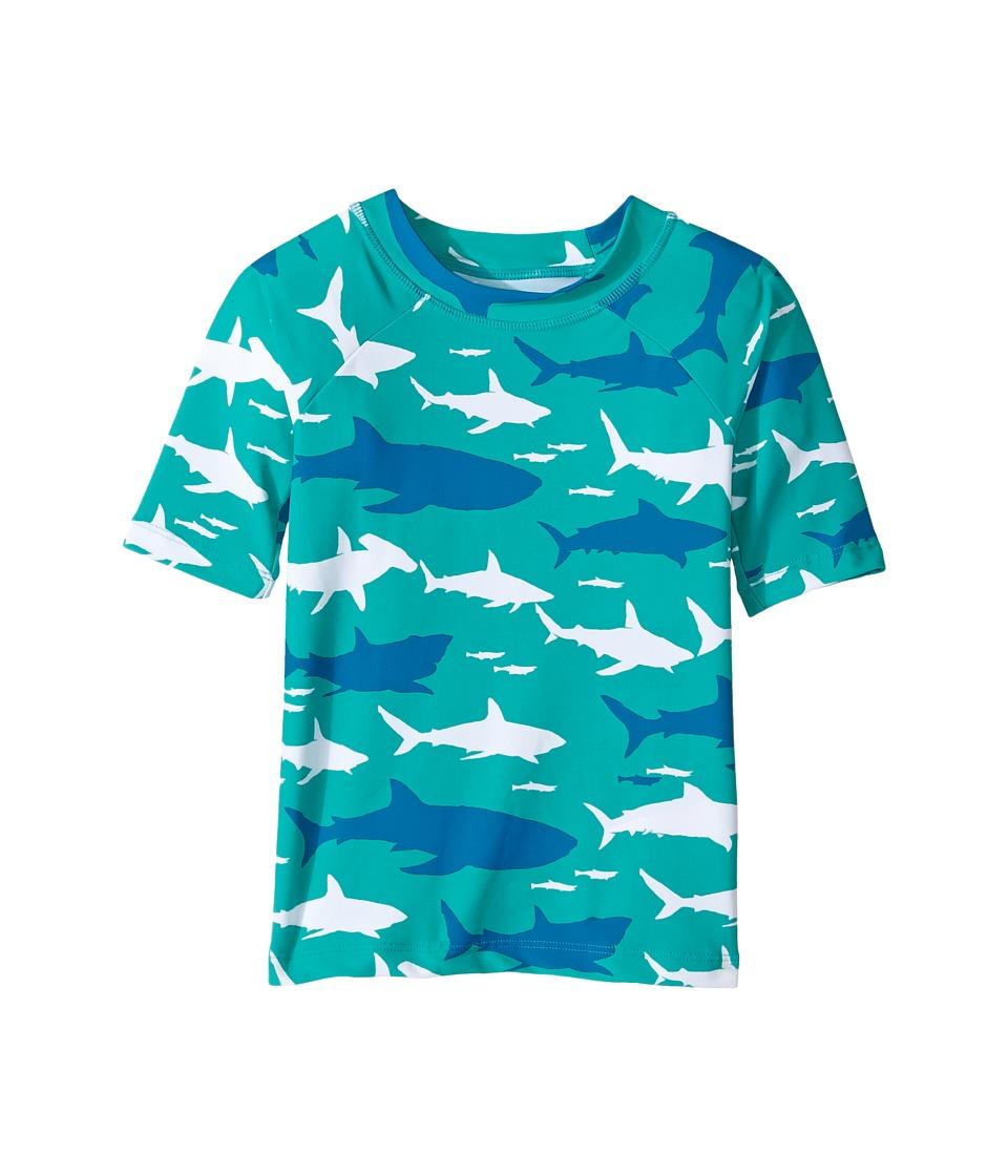 Hatley Kids - Toothy Shark Short Sleeve Rashguard (Toddler/Little Kids/Big Kids) (Aqua) Boy's Swimwear