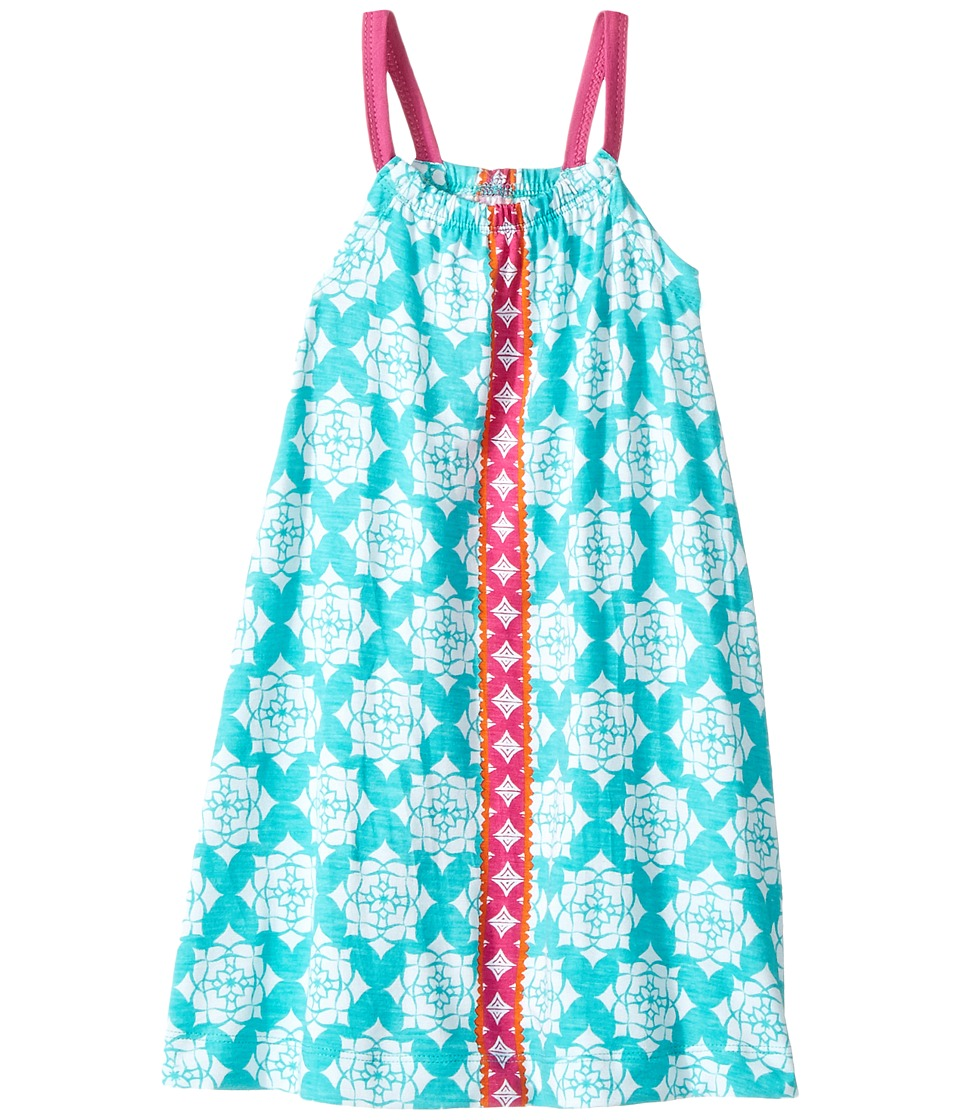 Hatley Kids - Tropical Floral Strappy Bow Back Sun Dress (Toddler/Little Kids/Big Kids) (Aqua) Girl's Dress