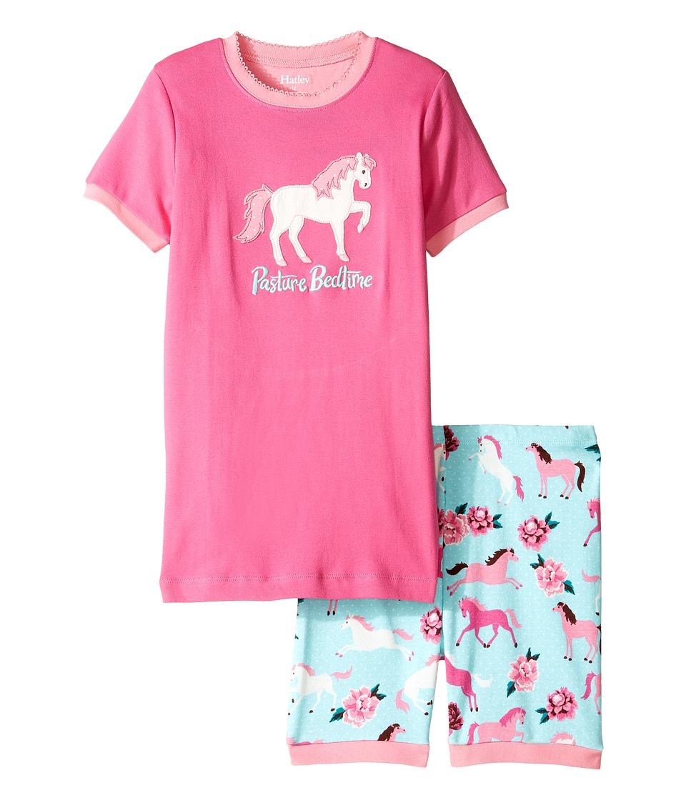 Hatley Kids - Ponies Peonies Short Pajama Set (Toddler/Little Kids/Big Kids) (Pink) Girl's Pajama Sets