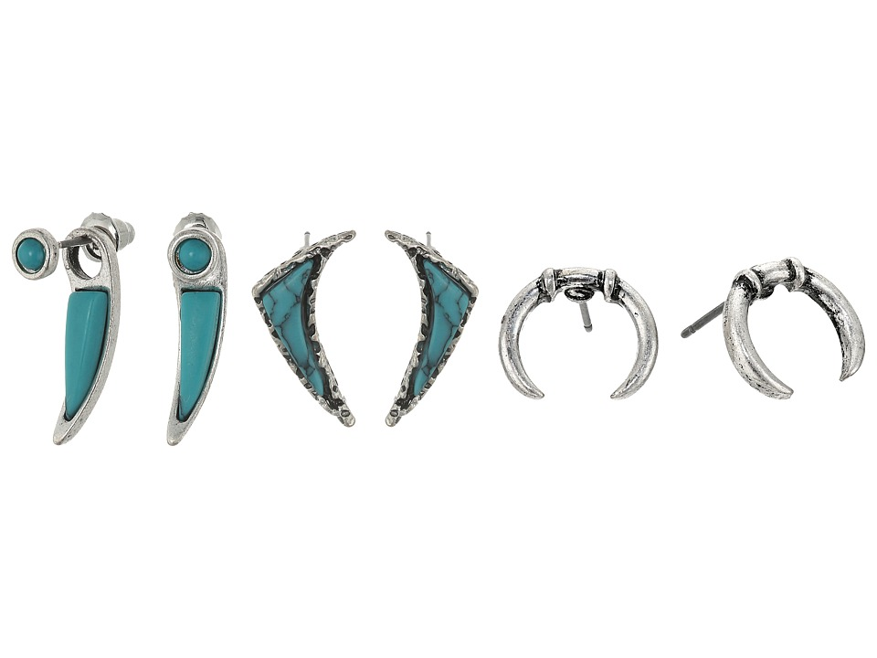 Steve Madden - Turquoise Horseshoe Curved Triangle and Curved Bar Post Earrings Set (Silver) Earring