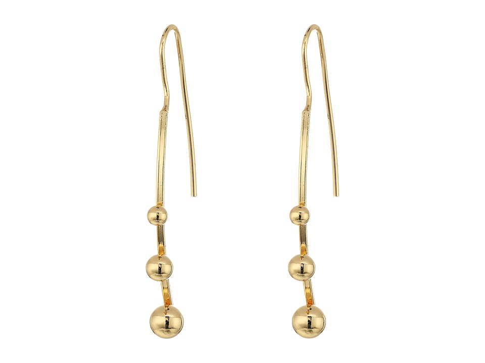Steve Madden - Fish Hook Bar w/ Three Balls Post Earrings (Gold) Earring