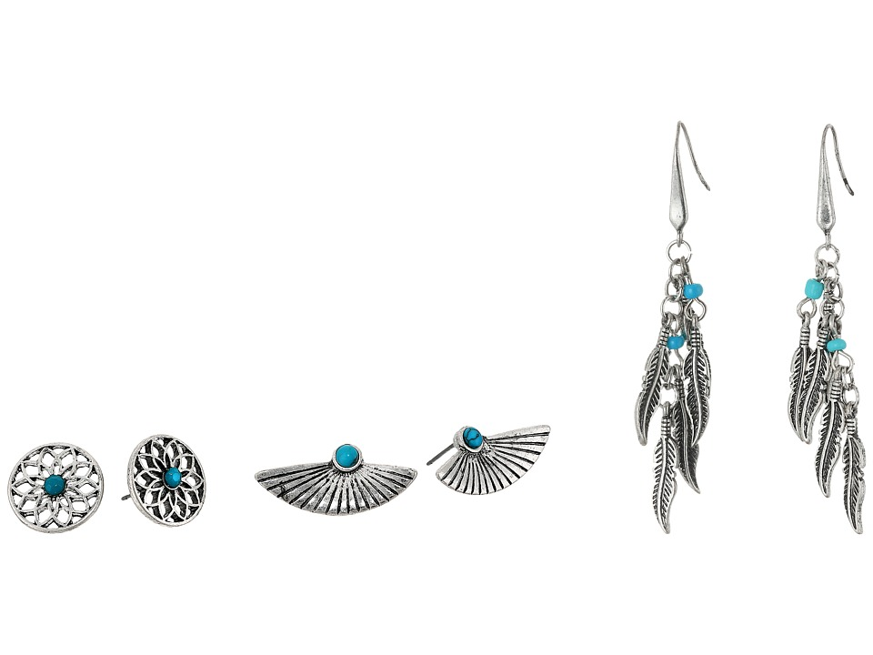 Steve Madden - Turquoise Wing Flower Post and French Wire Leaf Earrings Set (Silver) Earring