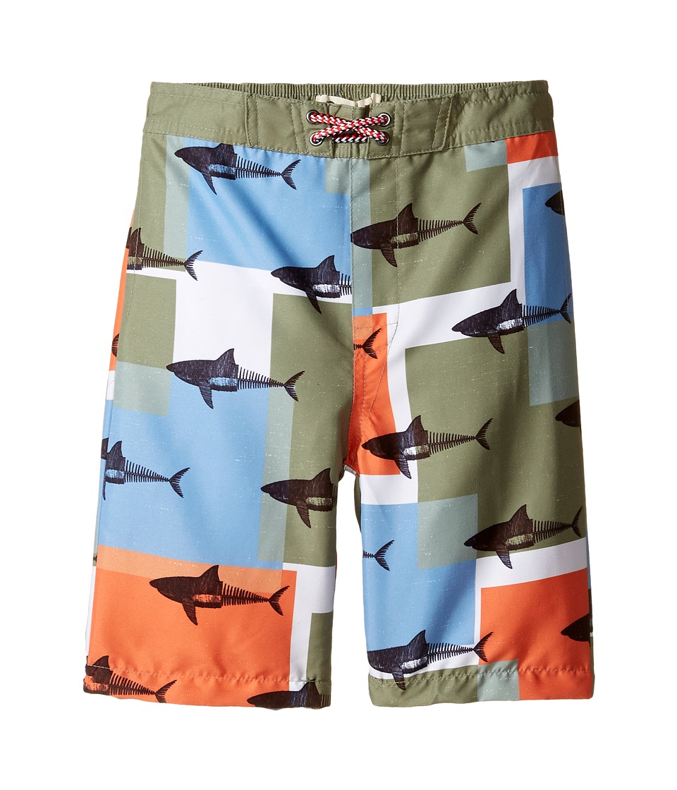 Appaman Kids - Shark Block Pattern Swim Trunks (Toddler/Little Kids/Big Kids) (Grey) Boy's Swimwear