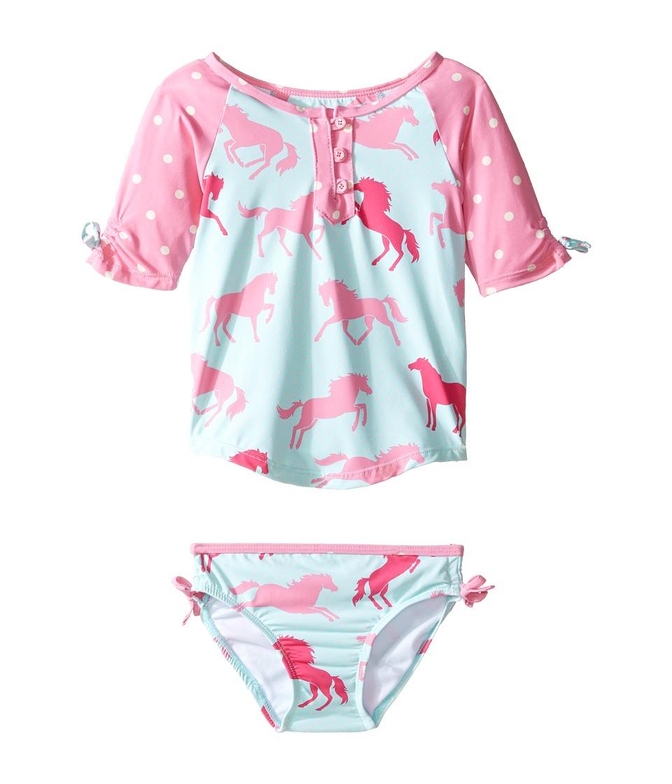 Hatley Kids - Ponies Polka Dots Rashguard Set (Toddler/Little Kids/Big Kids) (Blue) Girl's Swimwear Sets