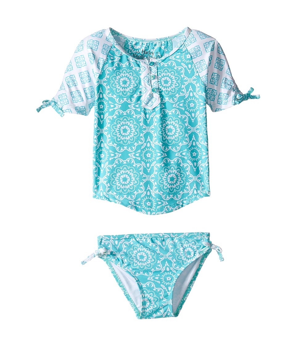 Hatley Kids - Tiled Mandala Rashguard Set (Toddler/Little Kids/Big Kids) (Aqua) Girl's Swimwear Sets
