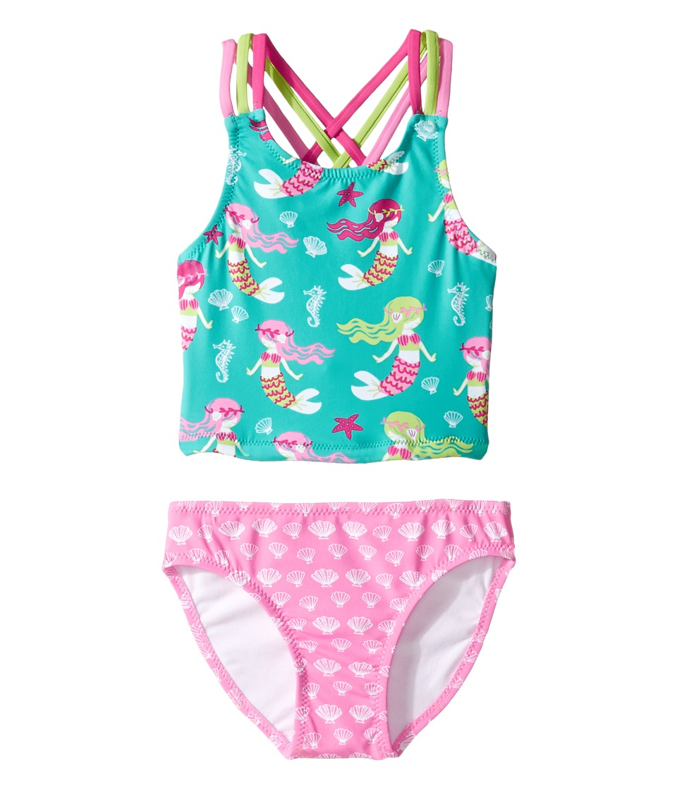 Hatley Kids - Sweet Mermaid Sporty Tankini Set (Toddler/Little Kids/Big Kids) (Aqua) Girl's Swimwear Sets