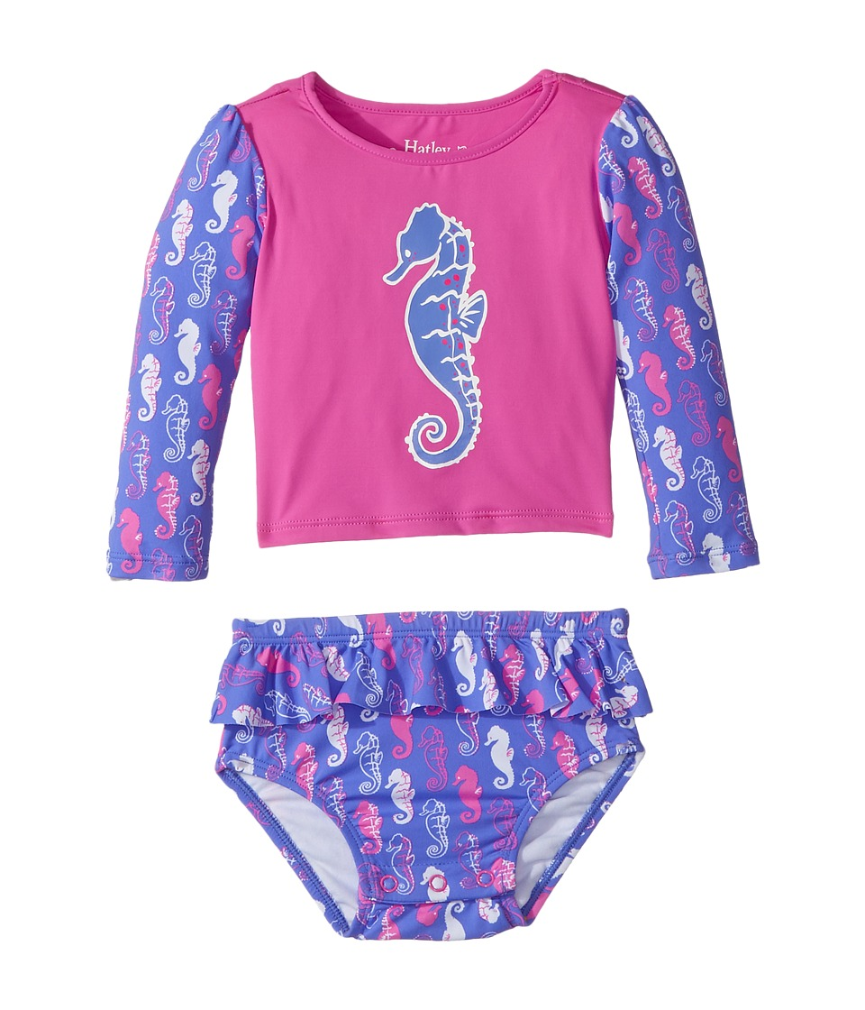 Hatley Kids - Sea Horse Rashguard Set (Infant) (Purple) Girl's Swimwear Sets