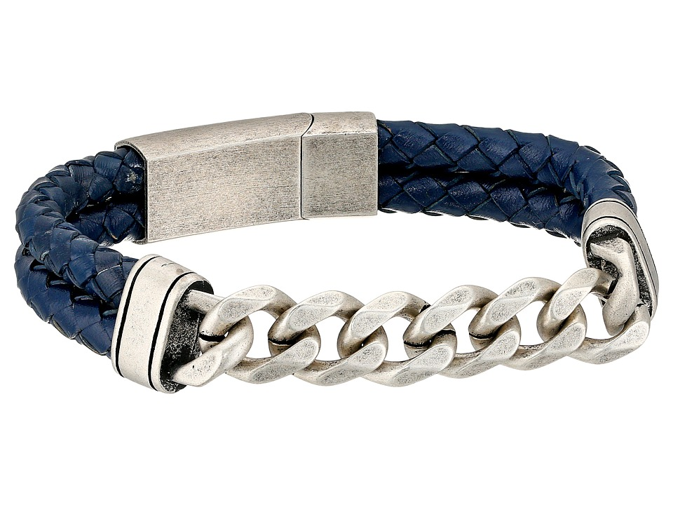 Steve Madden - Stainless Steel Curb Chain w/ Blue Braided Leather Bracelet (Silver) Bracelet