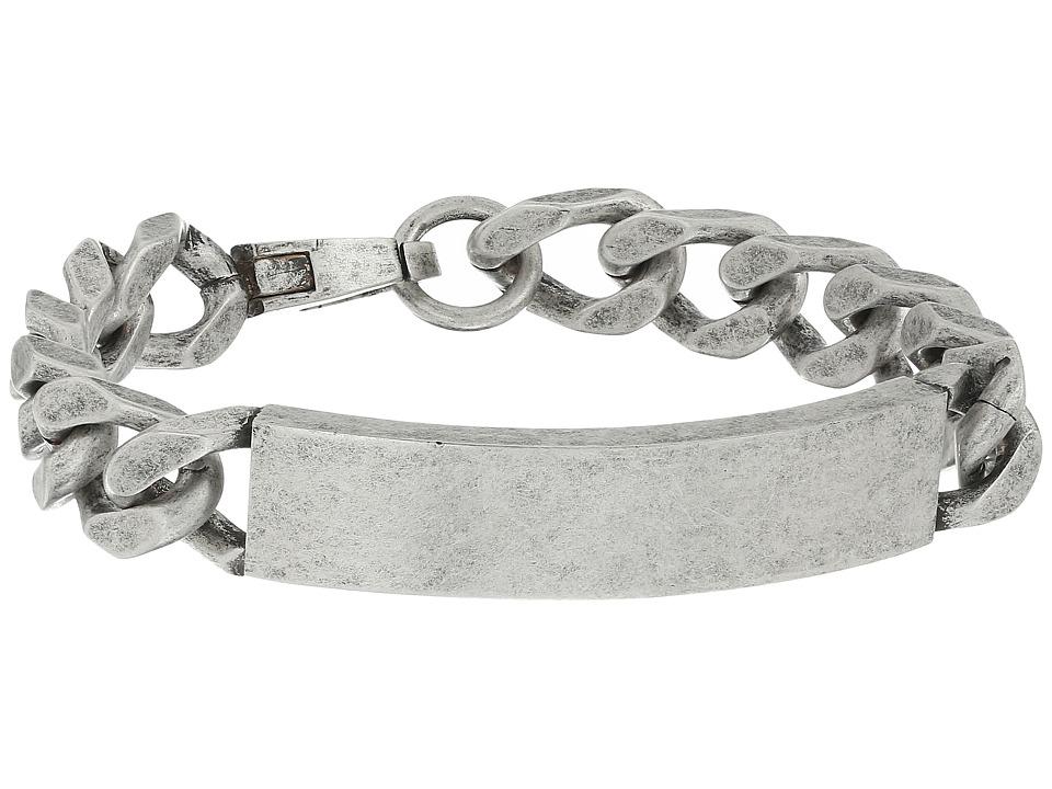 Steve Madden - Stainless Steel ID Plate Curb Chain Bracelet (Silver) Bracelet