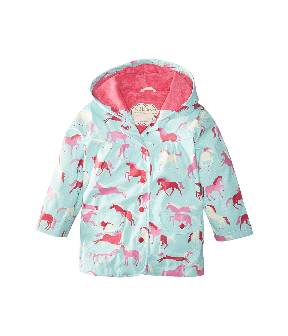 Hatley Kids - Ponies Polka Dots Raincoat (Toddler/Little Kids/Big Kids) (Blue) Girl's Coat