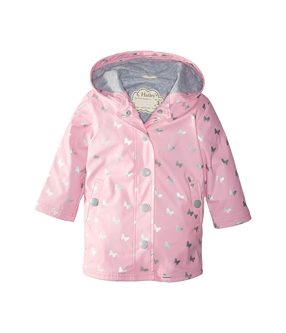 Hatley Kids - Silver Butterflies Splash Jacket (Toddler/Little Kids/Big Kids) (Pink) Girl's Coat