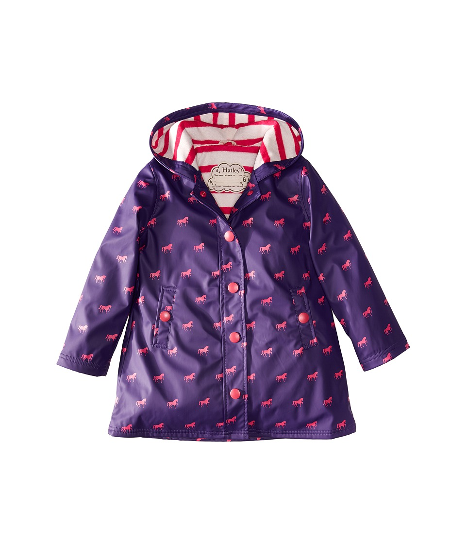Hatley Kids - Miniature Horses Splash Jacket (Toddler/Little Kids/Big Kids) (Purple) Girl's Coat