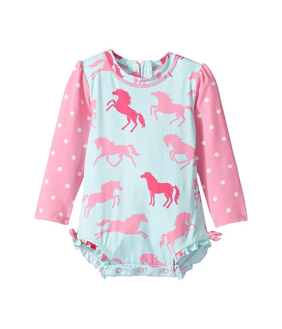 Hatley Kids - Ponies Polka Dots Rashguard (Infant) (Blue) Girl's Swimwear