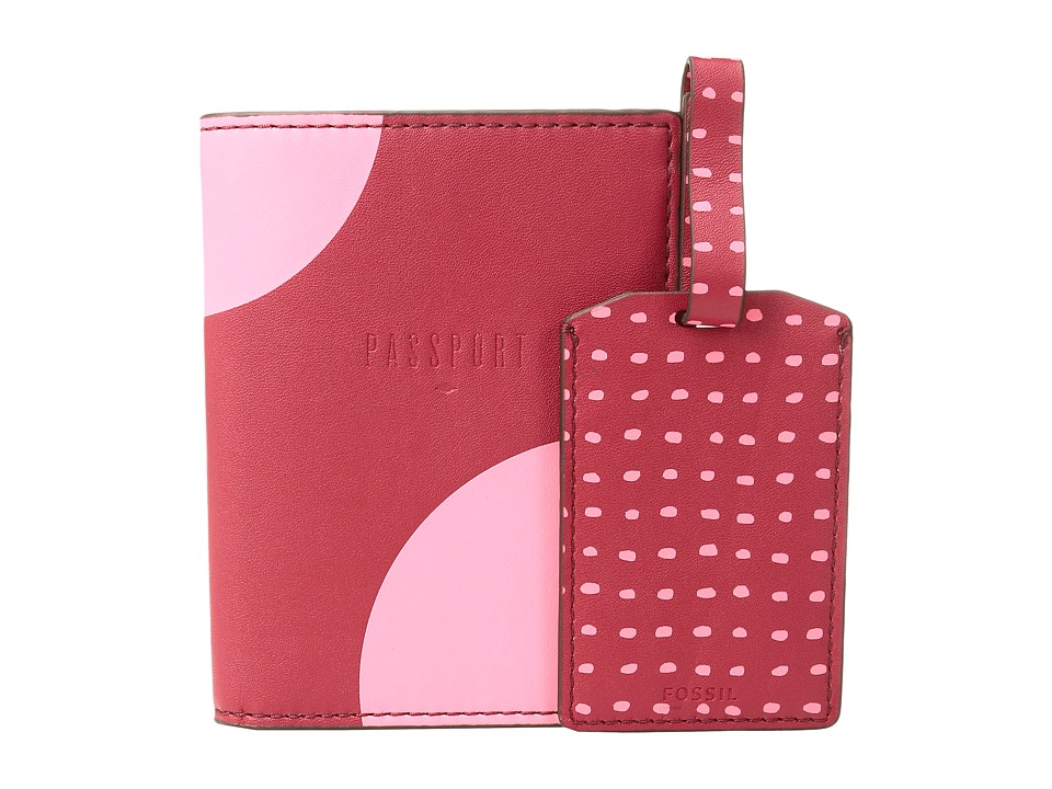 Fossil - Keely Gift Set - Passport Luggage Tag (Red Multi) Wallet