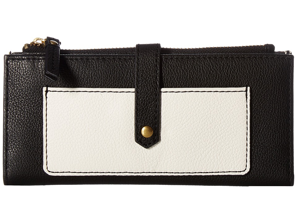 Fossil - Keely Tab Clutch (Black/White) Clutch Handbags