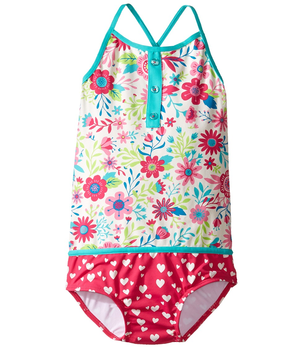 Hatley Kids - Wallpaper Flowers Color Block Swimsuit (Toddler/Little Kids/Big Kids) (White) Girl's Swimsuits One Piece